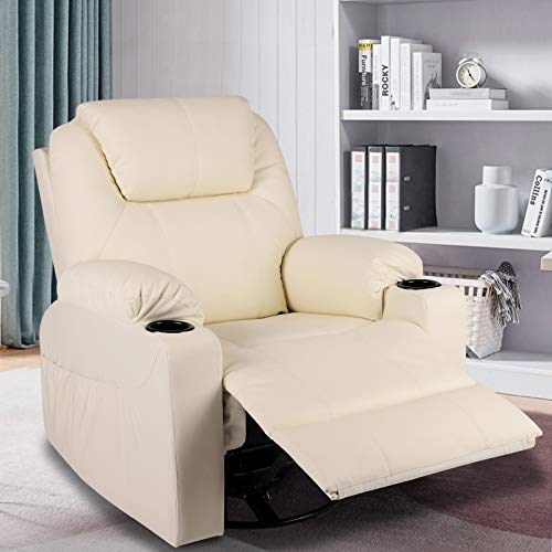 MAGIC UNION Modern PU Leather Massage Recliner Chair Rocking and 360°Swivel Heated Ergonomic Living Room Lounge Chair Single Sofa with 2 Cup Holders and Side Pockets Wireless Remote Control