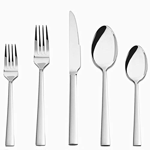 TEAMFAR Besteck Set, 30-teilig Edelstahl Besteckset Essbesteck für 6 Personen, Stilvoller Besteck mit Messer/Gabel/Löffel für Haushalt/Küche/Camping, Hochglanzpoliert & Spülmaschinengeeignet