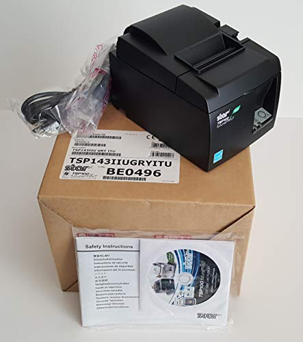 Star Micronics TSP100II - TSP143IIU Black USB Thermal Receipt Printer TSP100ECO - 100-240V ~ 1.4A 50/60Hz - With Driver, Power Cable & USB Cable. New In Original Box - Please look at all the pictures,