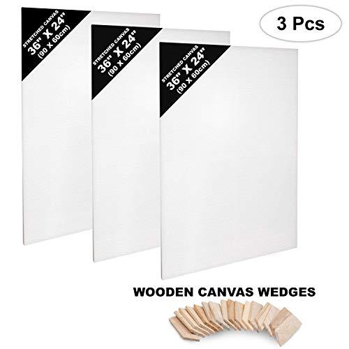 Set Lienzos 3 Piezas - Set Lienzos Blancos para Artistas - Lienzos Estirados en Blanco - Lienzos de 90 x 60cm - Panel de Lienzo para Pintar - Lienzo en Blanco Estirado para Pintura Acrílica, Acuarela