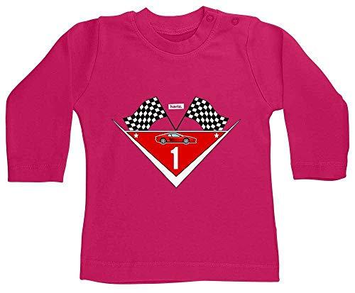 Hariz - Camiseta de manga larga para bebé, diseño de coche de carreras, 1 cumpleaños infantil, tarjeta de regalo, unicornio, fucsia, 12 – 18 meses