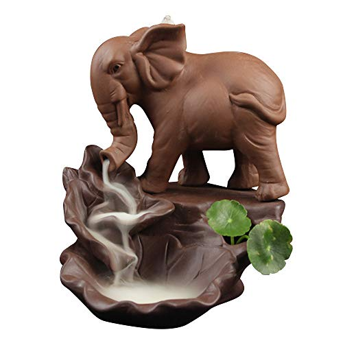 Räucherstäbchen Halter, Zuhause Keramik Räucherstäbchenhalter Rückfluss Räuchergefäß Elefant Buddha Luftbefeuchter Aromatherapie Räucherstäbchen Rückfluss Weihrauch Duftlampen Rauchbrunnen B