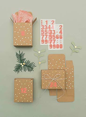 Adventskalender Boxen, Kraftpapier/Gold