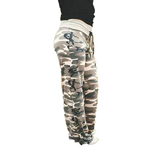 Sevem-D Women's Pants Loose Floral Print Drawstring Sports Pants for Women Summer Long Sweatpants,0909 Camouflage,XL