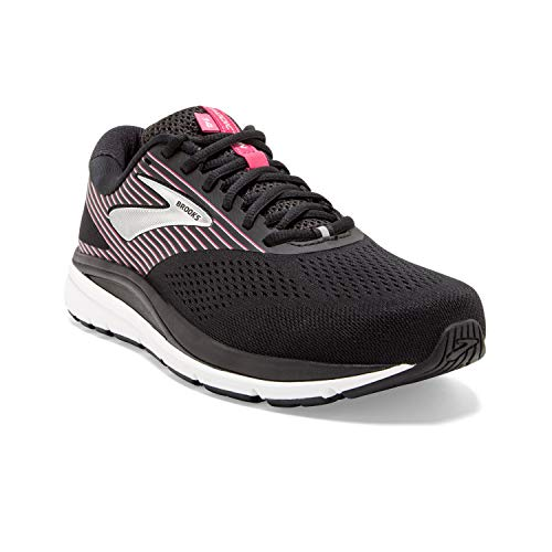 Brooks Womens Addiction 14 Running Shoe - Black/Hot Pink/Silver - 2E - 11.0