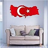 DIYthinker Türkische Flagge Karte der Türkei Wand Vinylaufkleber Custom Home Dekoration Wand-Aufkleber Hochzeits-Dekoration PVC-Tapeten Mode-Design