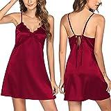 HOTLOOX camisón de satén para Mujer Sexy Negligee sin Espalda de Encaje Ropa de Dormir con Cuello en V con Tirantes Finos Rojo Vino L