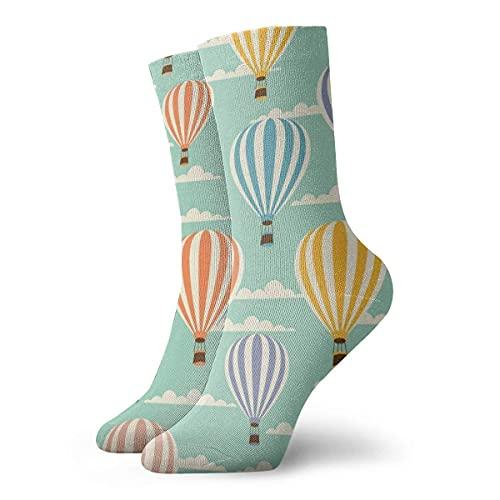 LAVYINGY Calcetines de tobillo alto unisex con balón de aire caliente y calcetines deportivos casuales de 30 cm