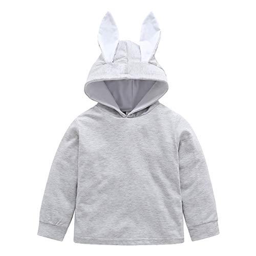 Borlai Sudadera con capucha para niñas de 1 a 4 años, con orejas de conejo