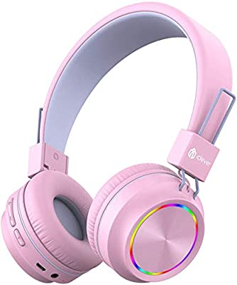 iClever Kids Bluetooth Headphones, Colorful Lights Headphones for Kids with MIC, Volume Control, Childrens Headphones Foldable on Ear for School/Travel from Iclever