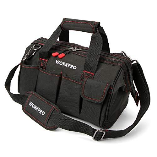WORKPRO Werkzeugtasche Transporttasche Universal mit weiter Reißverschluss Öffnung verstellbarer Schultergurt 350X240X230MM
