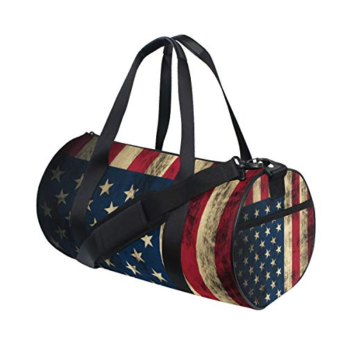 Gym Duffel Bag Patriotic American Flag Training Duffle Bag BaLin Round Travel Sport Bags for Men Women American Classic Club Duffel