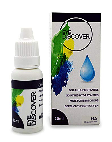 EYE DISCOVER Drops with Hyaluronic Acid for Dry Eyes, Refreshing and Moisturizing Eye Drops, Artificial Tears for Tired Eyes (15 ml)