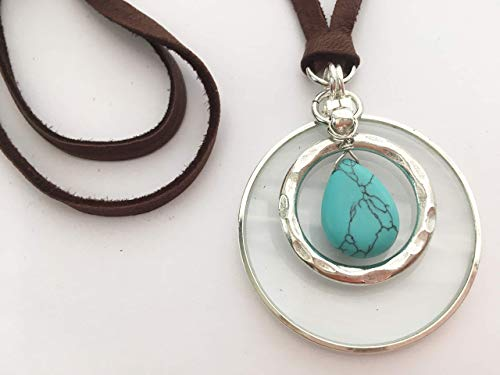 Magnifying Glass Necklace, Magnify The Energy of Gemstones, Turquoise Howlite, Adjustable Length, Handmade La Loupe By Wendra