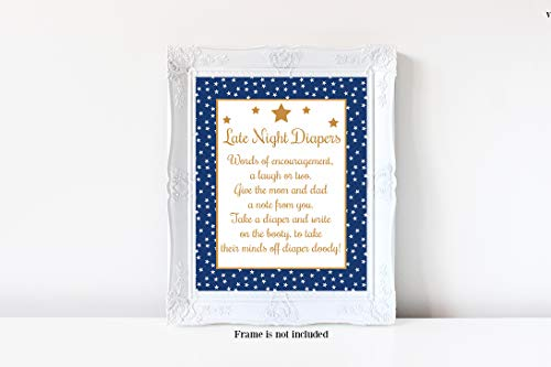 Star Baby Shower, Late Night Diapers Sign, Diaper Baby Shower Game, Girl or Boy Baby Shower, Baby Shower Games, 8x10 Glossy Sign
