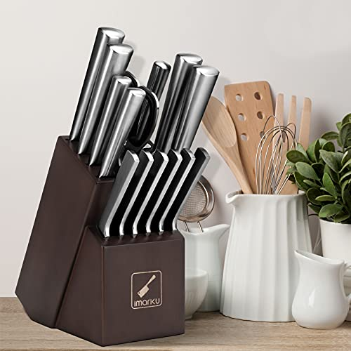 Knife Set with Block, imarku 15 Pieces Kitchen Knife Sets, German Stainless Steel Chef Knife Block Set with Sharpener, Silver