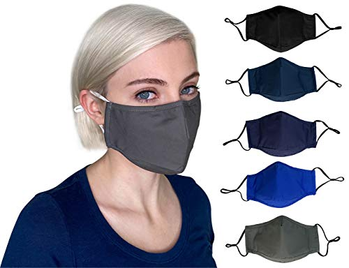 Cloth Face Mask Reusable Washable Breathable,Adjustable Ear Loops, Nose Wire, Filter Pocket, 3-layer Soft Cotton, Solid Color, for teens,women,men (Combo8-5Pack))