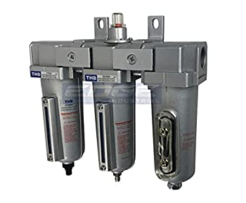 3 STAGE INDUSTRIAL GRADE IN-LINE COALESCING FILTER & DESICCANT AIR DRYER COMBINATION WITH METAL BOWLS FOR SPRAY GUN EQUIPMENT PAINT BOOTH COMPRESSOR PLASMA CUTTER  1/2  AUTO DRAIN