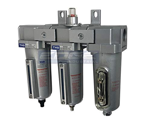 """3 STAGE, INDUSTRIAL GRADE IN-LINE COALESCING FILTER & DESICCANT AIR DRYER COMBINATION WITH METAL BOWLS FOR SPRAY GUN EQUIPMENT PAINT BOOTH COMPRESSOR, PLASMA CUTTER (1/2"""" AUTO DRAIN)"""