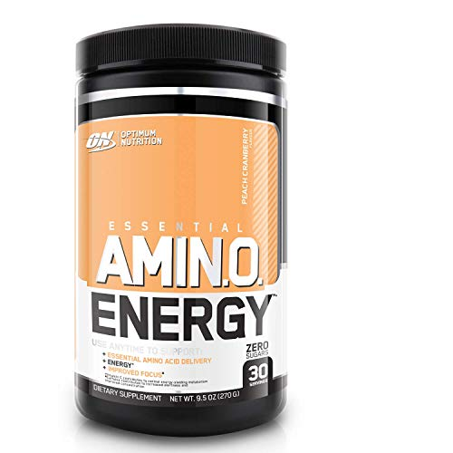 Optimum Nutrition ON Amino Energy Pre Workout en Polvo, Bebida Energética con Beta Alanina, Vitamina C, Cafeína, Aminoacidos Incluyendo BCAA, Peach Cranberry, 30 Porciones, 270 gr
