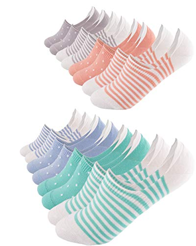 FOOTNOTE I 8 Paar I Unsichtbare Sneaker Socken Footies Füßlinge Invisible Socks mit Silikon Pastell Gepunktet Gestreift in 35 36 37 38