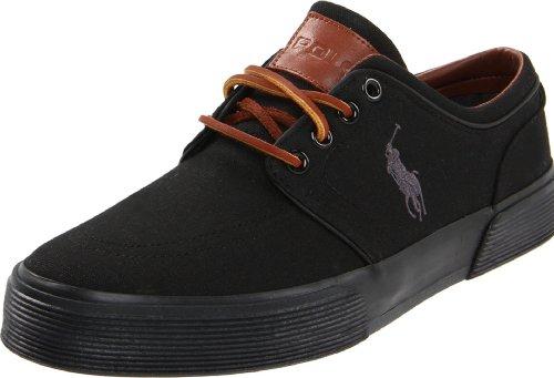 Polo Ralph Lauren Men's Faxon Low Sneaker,Black/Black Canvas,10.5 D US