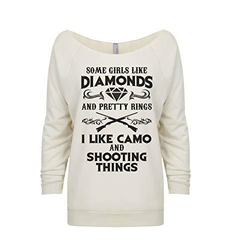 Hunting Sweatshirts Some Girls Like Diamonds and Pretty Rings I Like Camo Shooting Things Small, Ivory