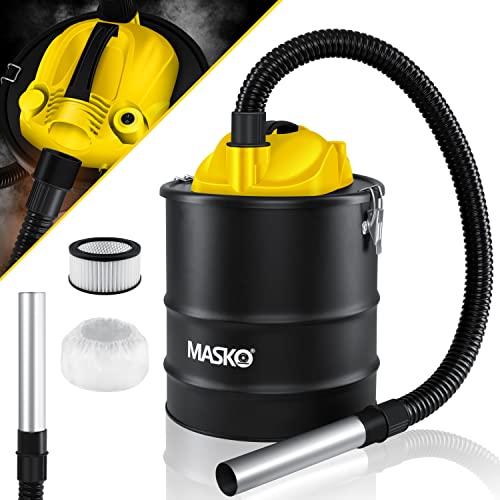MASKO® 2in1 Aschesauger 1200W Kaminsauger für Kamin - 20L Volumen - Saug- und Blasfunktion mit Hepafilter und Vorfilter - Asche Ruß Staubsauger für Kamin Grill Ofen - metallverstärkter Saugschlauch