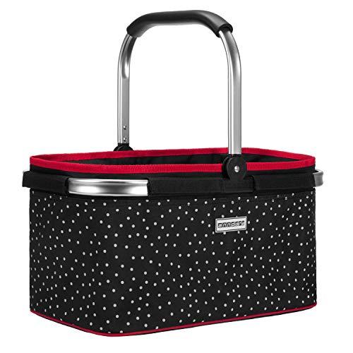 anndora Einkaufskorb 22 Liter Korb Picknickkorb - schwarz gepunktet