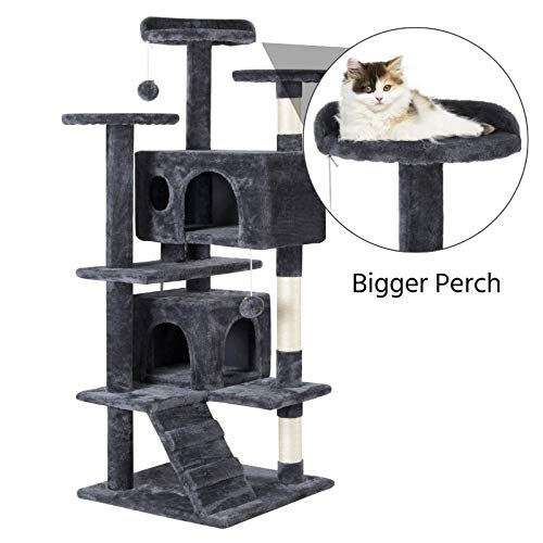 Topeakmart 51 inches Multi-Level Cat Tree Cat Condo with Scratching Posts Kittens Activity Tower Pet Play House Furniture