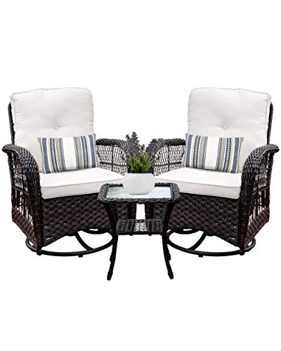 Harlie amp Stone Outdoor Swivel Rocker Patio Chairs Set of 2 and Matching Side Table  3 Piece Wicker Patio Bistro Set with Premium Fabric Cushions