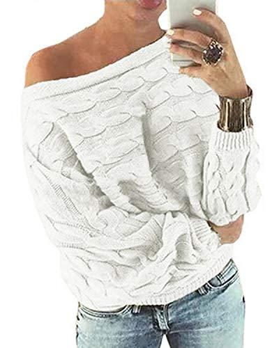 YOINS Schulterfrei Oberteile Damen Herbst Winter Off Shoulder Pullover Pulli für Damen Aktualisierung-weiß S