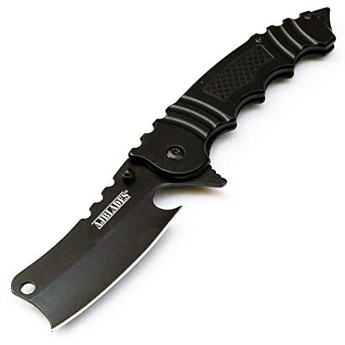 AJBLADES 8' Tactical Cleaver Folding Pocket Razor Assisted Open Knife - AJ329 (BLACK)