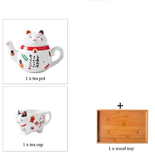 LOYWT Juego de té de Porcelana para Gatos Tetera de Taza de té de cerámica Creativa con Filtro Juego de Taza de Agua de Tetera Linda para Gatos-C