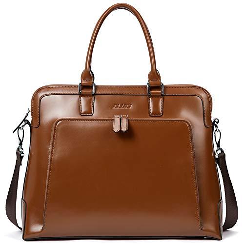 CLUCI Leder Aktentaschen für Frauen 14 Zoll Laptop Businesstasche Vintage Damen Aktenkoffer, Braun, large