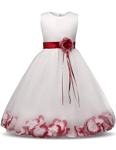 NNJXD Mädchen Tutu Blütenblätter Schleife Brautkleid für Kleinkind Mädchen, Großes Rot, 7-8 Jahre/ Etikettgröße- 150