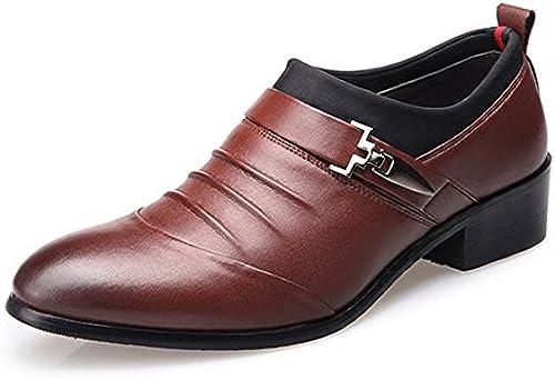 Z.L.F Herren Oxford Schuhe Matte PU Leder Splice Obermaterial Slip-on Atmungsaktiv Gefüttert Formelle Schuhe (Farbe   Braun, Größe   7MUS)