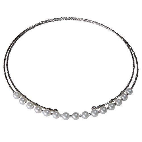 真珠の杜 あこや本真珠 5.5mm K18ホワイトゴールド チョーカー ミラーボール フリーサイズ 形状記憶合金 ネックレス レディース