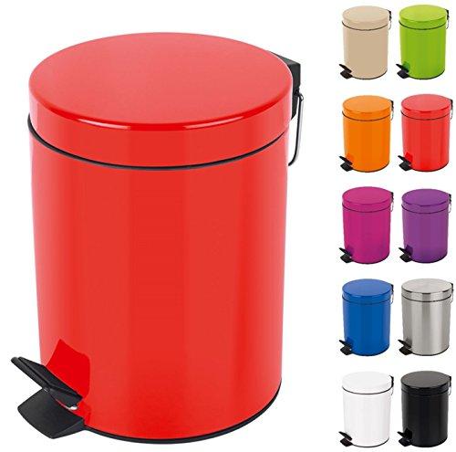 Spirella Kosmetikeimer Sydney Rot Mülleimer Treteimer Abfalleimer - 3 Liter – mit herausnehmbaren Inneneimer