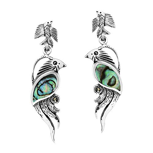 Mythical Phoenix Bird Abalone Shell Wing & Marcasite Style Pyrite .925 Sterling Silver Dangle Earrings