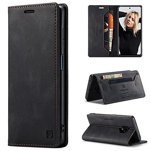 CaseNN Funda para Xiaomi Redmi Note 9 Pro/Redmi Note 9S Carcasa con Tarjetero Fundas Tapa Libro de Cuero PU para Mujeres Hombres Premium Magnético Suporte con Bloqueo RFID Silicona Delgado - Negro