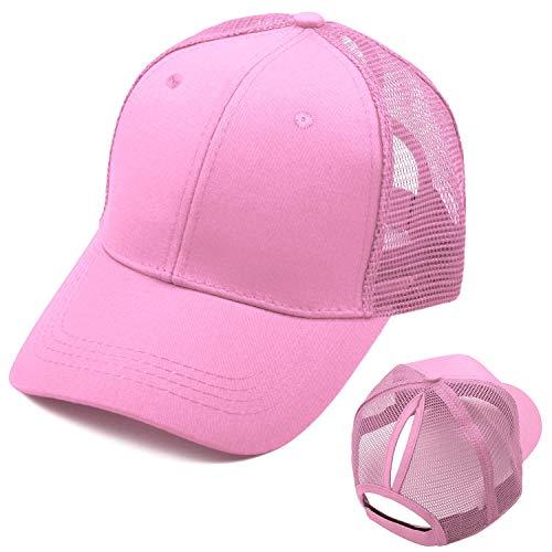 Bwiv Baseball Cap Damen Mesh Pferdeschwanz Baseball Hut Atmungsaktiv Sonnenhut Sonnenschutz Mädchen Kappe Schirmmütze Einheitsgröße Kopfumfang 52-61cm Rosa