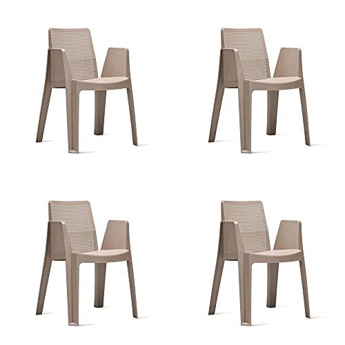 RESOL Play Set 4 Sillas de Jardín Apilables con Reposabrazos y Respaldo Ventilado | Terraza, Patio, Balcón, Comedor Exterior | Ligera y Resistente | Diseño Moderno - Color Marrón Arena