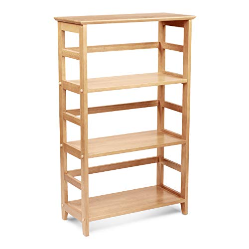 PJ Wood Classic 4-Tier Bookshelf & Bookcase with Solid Rubber Wood - Light Oak