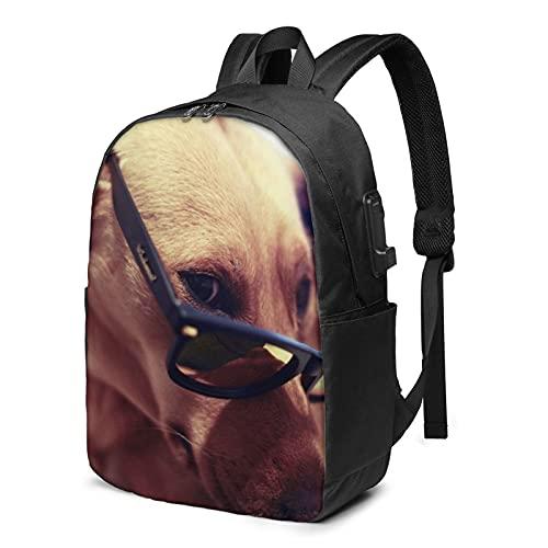 Gafas Labrador Retriever Mochila de viaje con puerto de carga USB para hombres y mujeres de 17 pulgadas - negro - talla única