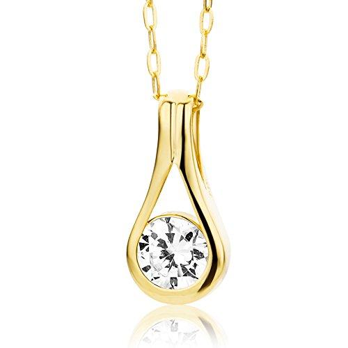 Miore Kette - Halskette Damen Gelbgold 9 Karat / 375 Gold Kette mit Rundschliff Zirkonia Steinchen 45 cm