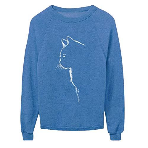 Yowablo Sweatshirt Damen Vintage Frauen Pullover Langarm Rundhals Lose Casual Tops Bluse Top Frauen Tier Katze Print O Hals Lose Pullover Langarm Casual (4XL,2Blau)