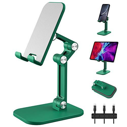 Soporte para tablet y teléfono celular, altura ajustable en ángulo, compatible con dispositivos de 4 a 12,9 pulgadas con organizador de cables y cable de carga múltiple 3 en 1, color verde