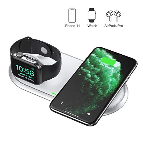 CHOETECH MFi Cargador Inalámbrico Doble, 2 en 1 Wireless Charger [con Adaptador QC 3.0] para iWatch,Airpods 2/Pro, 7.5W para iPhone 11/SE/XS/X/8, 10W para Galaxy Note 10/S20/S10/S9/S8, 5W Teléfono Qi