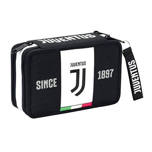ASTUCCIO scuola Juventus juve SEVEN 3 PIANI completo bianconero tifoso + omaggio portachiave fischietto + omaggio penna colorata + segnalibro juventus